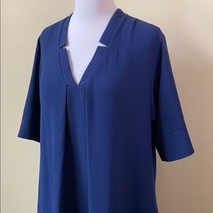 Bobeau Navy Notch V-Neck Short Sleeve Shirt Dress